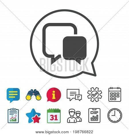 Chat sign icon. Speech bubble symbol. Communication chat bubble. Information, Report and Calendar signs. Group, Service and Chat line icons. Vector