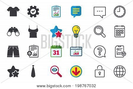 Clothes icons. T-shirt and bermuda shorts signs. Business tie symbol. Chat, Report and Calendar signs. Stars, Statistics and Download icons. Question, Clock and Globe. Vector