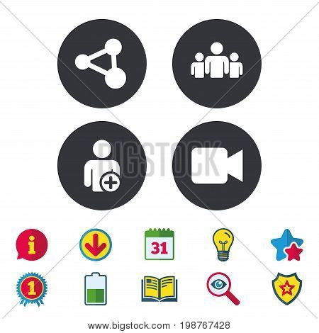 Group of people and share icons. Add user and video camera symbols. Communication signs. Calendar, Information and Download signs. Stars, Award and Book icons. Light bulb, Shield and Search. Vector