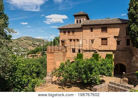 Granada Spain - May 19 2014: Nice old building in the La Alhambra Palace Granada Andalusia Spain.