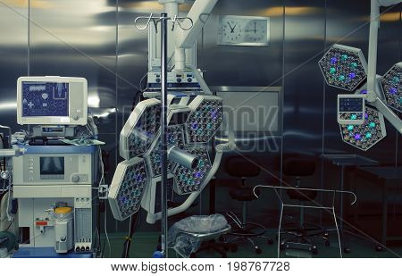 Modern technological equipped operation room. Macro photo