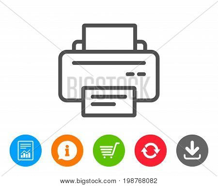 Printer icon. Printout Electronic Device sign. Office equipment symbol. Report, Information and Refresh line signs. Shopping cart and Download icons. Editable stroke. Vector