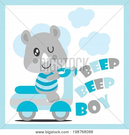 Cute baby rhino drives motorcycle vector cartoon illustration for baby shower card design, kid t shirt design, and wallpaper