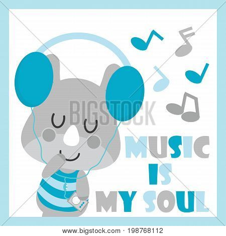 Cute baby rhino is listening music vector cartoon illustration for baby shower card design, kid t shirt design, and wallpaper