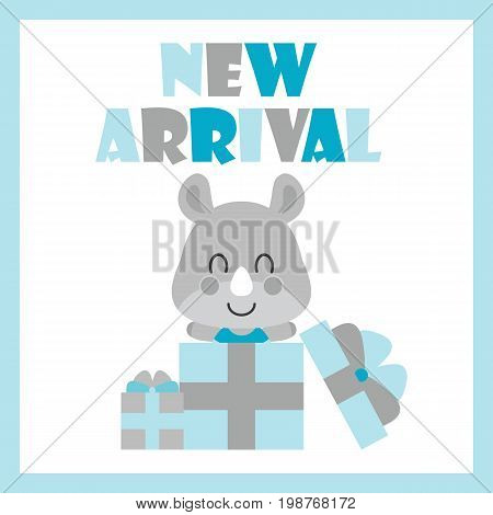 Cute baby rhino in gift boxes vector cartoon illustration for baby shower card design, postcard, and wallpaper