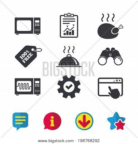 Microwave grill oven icons. Cooking chicken signs. Food platter serving symbol. Browser window, Report and Service signs. Binoculars, Information and Download icons. Stars and Chat. Vector