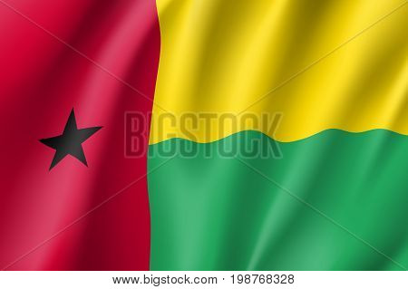 Guinea-Bissau flag. National patriotic symbol in official country colors. Illustration of Africa state waving flag. Realistic vector icon