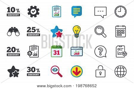 Sale discount icons. Special offer price signs. 10, 20, 25 and 30 percent off reduction symbols. Chat, Report and Calendar signs. Stars, Statistics and Download icons. Question, Clock and Globe