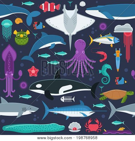 Sea life pattern with different marine animals. Underwater creatures vector seamless background with ocean aquatic inhabitants and exotic fishes in flat design. Whale, dolphin, orca, octopus, squid.