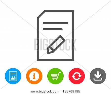 Edit Document line icon. Information File sign. Paper page with pencil concept symbol. Report, Information and Refresh line signs. Shopping cart and Download icons. Editable stroke. Vector