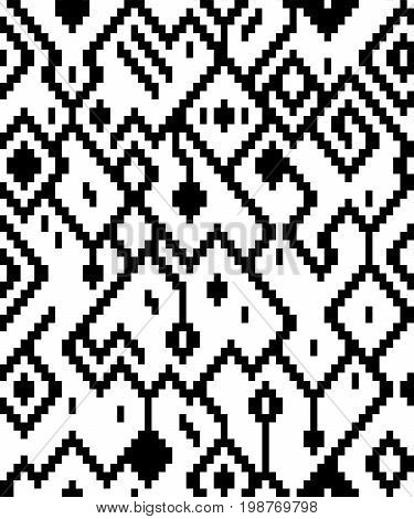 Ethnic abstract geometric pattern in black and white, vector background