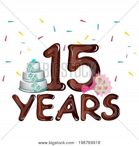 Anniversary card 15 years on a light background with cake. Vector illustration