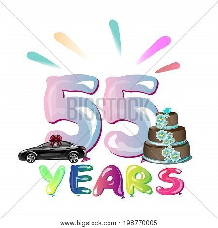 Happy Birthday fifty five 55 year. Vector illustration