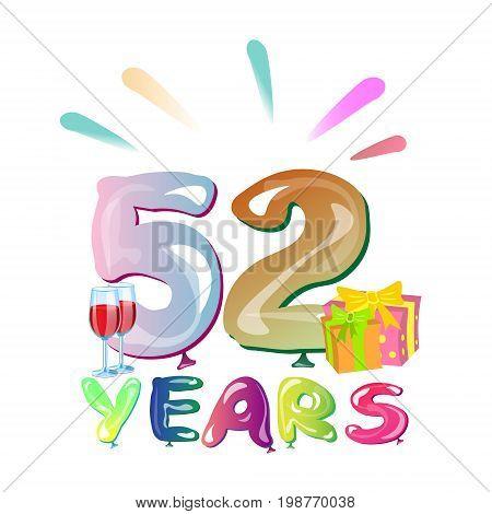 52 years anniversary celebration greeting card. Vector illustration
