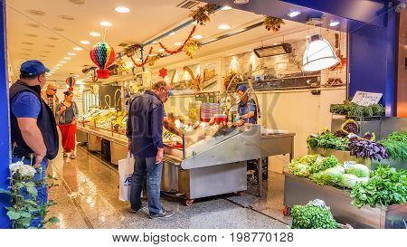 Istanbul, Turkey - June 02, 2017: Interior Of A Fish Market At Kadikoy Street Bazaar.