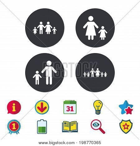 Large family with children icon. Parents and kids symbols. One-parent family signs. Mother and father divorce. Calendar, Information and Download signs. Stars, Award and Book icons. Vector