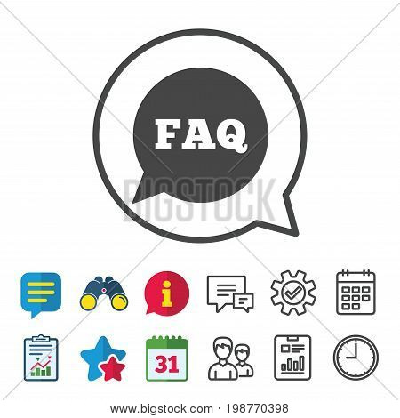 FAQ information sign icon. Help speech bubble symbol. Information, Report and Calendar signs. Group, Service and Chat line icons. Vector