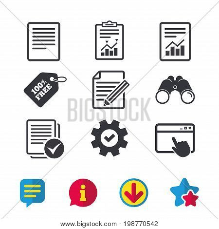 File document icons. Document with chart or graph symbol. Edit content with pencil sign. Select file with checkbox. Browser window, Report and Service signs. Binoculars, Information and Download icons