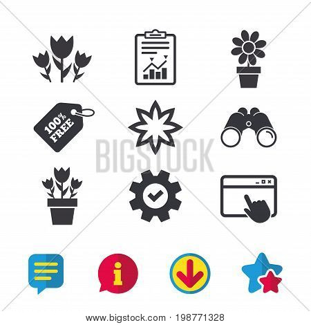 Flowers icons. Bouquet of roses symbol. Flower with petals and leaves in a pot. Browser window, Report and Service signs. Binoculars, Information and Download icons. Stars and Chat. Vector