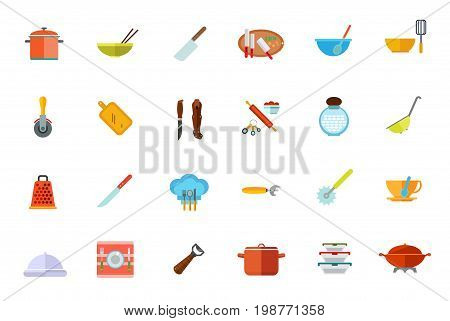 Cooking vessels, kitchen utensils icon set. Saucepan Bowl And Chopsticks Cleaver Knives On Cutting Board Bowl And Whisk Pizza Cutter Sharp Pukko Knife Millet Jar Colander Grater Tea Cup Beer Opener