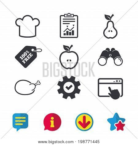 Food icons. Apple and Pear fruits with leaf symbol. Chicken hen bird meat sign. Chef hat icons. Browser window, Report and Service signs. Binoculars, Information and Download icons. Stars and Chat