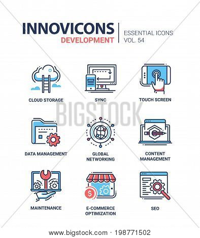 Web Page Development - modern essential vector line design icons set. Cloud storage, sync, computer, mobile device, touchscreen, data management, global networking, maintenance, e-commerce optimization, seo