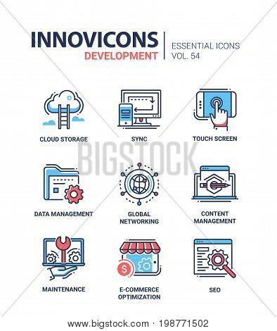 Web Page Development - modern essential vector line design icons set. Cloud storage, sync, computer, mobile device, touchscreen, data management, global networking, maintenance, e-commerce optimization, seo
