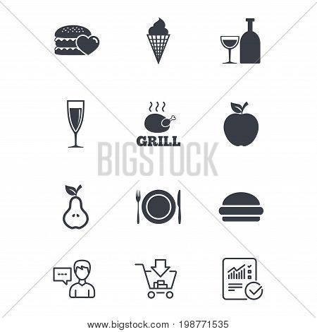 Food, drink icons. Grill, burger and ice cream signs. Chicken, champagne and apple symbols. Customer service, Shopping cart and Report line signs. Online shopping and Statistics. Vector
