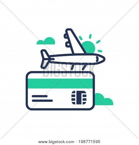Travel - modern vector single line design icon. An isolated sign for going on a journey, vacation, business trip, credit, debit card, a plane. Sun, clouds, green color. White background.