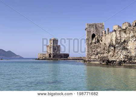 A view of the ancient, Venetian, seaside fortress on a sunny day (Greece, Peloponnese, city Methoni)