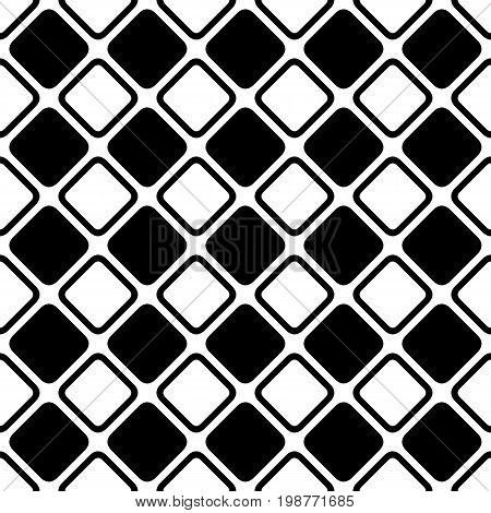 Seamless abstract black and white square grid pattern - halftone vector background graphic design from diagonal rounded squares
