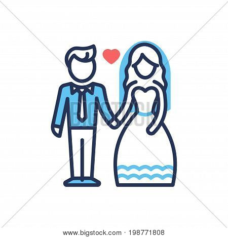 Groom and Bride - modern vector single line design icon. An image depicting a newlywed couple, man, woman in ceremonial clothes and a red heart between them on a white background.