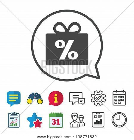 Gift box sign discount icon. Present symbol. Information, Report and Calendar signs. Group, Service and Chat line icons. Vector