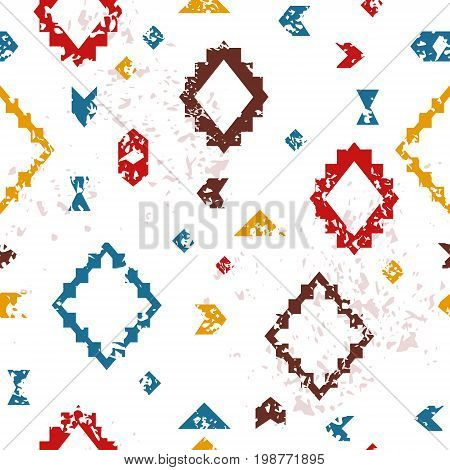 Colorful aged geometric aztec ethnic grunge seamless pattern, vector background
