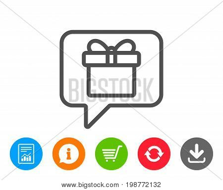 Dreaming of Gift line icon. Present box sign. Birthday Shopping symbol. Package in Gift Wrap. Report, Information and Refresh line signs. Shopping cart and Download icons. Editable stroke. Vector