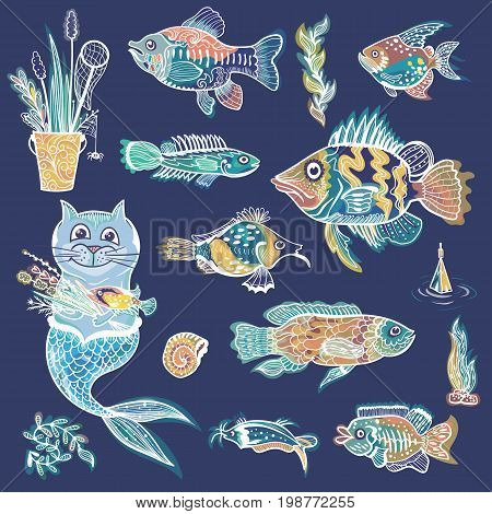Sketch style outline ornamental fishes, plants and mermaid illustrations with glowing effect