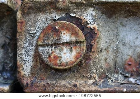 Detail of a rusty screw on an iron structure