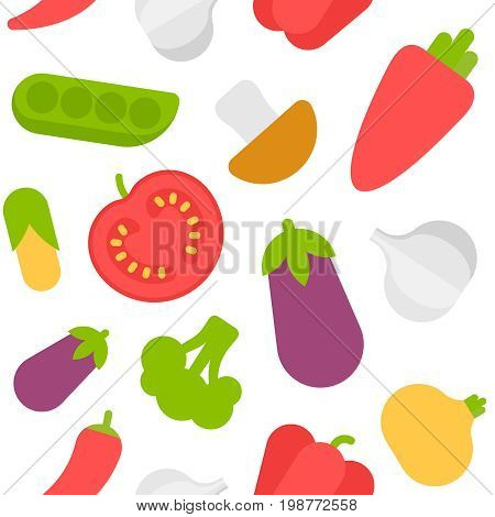 Assorted vegetables flat style vector seamless pattern