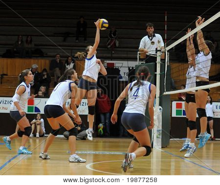 KAPOSVAR, HUNGARY - OCTOBER 14: Unidentified players in action at the Hungarian Cup woman volleyball game Kaposvar vs Godollo, October 14, 2009 in Kaposvar, Hungary.