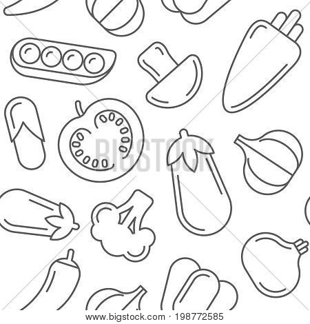 Assorted vegetables thin line style vector seamless pattern