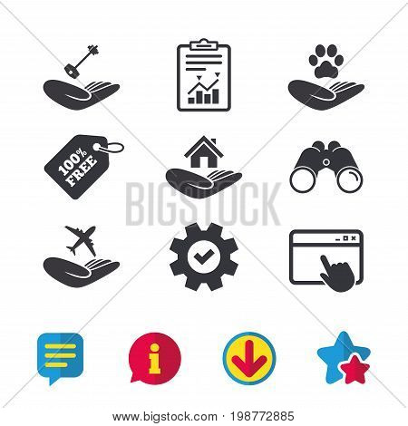 Helping hands icons. Shelter for dogs symbol. Home house or real estate and key signs. Flight trip insurance. Browser window, Report and Service signs. Binoculars, Information and Download icons