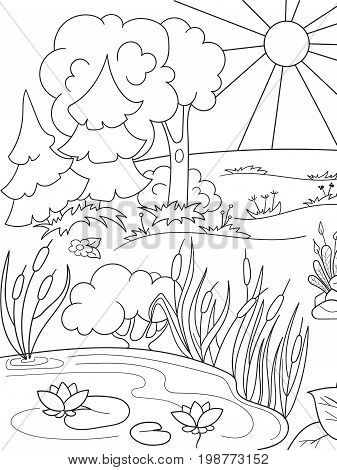 Cartoon coloring book black and white Nature. Glade in the forest with plants. Vector illustration