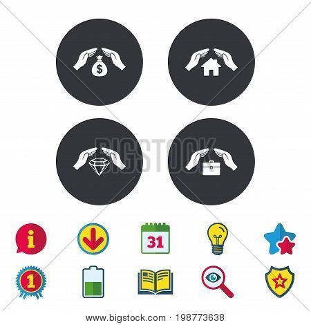 Hands insurance icons. Money bag savings insurance symbols. Jewelry diamond symbol. House property insurance sign. Calendar, Information and Download signs. Stars, Award and Book icons. Vector
