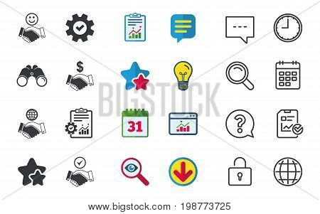 Handshake icons. World, Smile happy face and house building symbol. Dollar cash money. Amicable agreement. Chat, Report and Calendar signs. Stars, Statistics and Download icons. Vector
