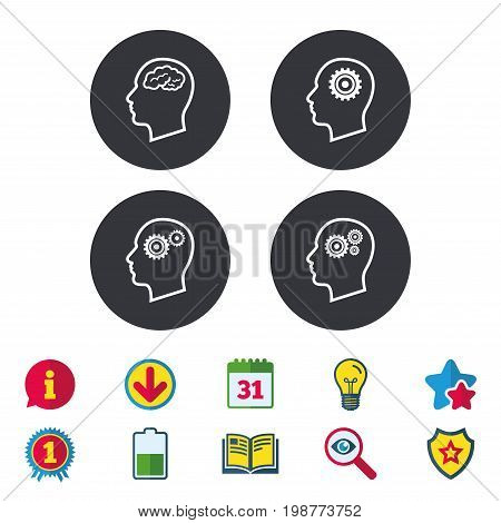 Head with brain icon. Male human think symbols. Cogwheel gears signs. Calendar, Information and Download signs. Stars, Award and Book icons. Light bulb, Shield and Search. Vector
