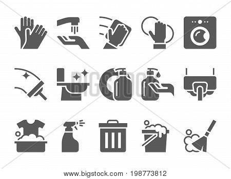 cleaning icons vector set. hygiene tools signs
