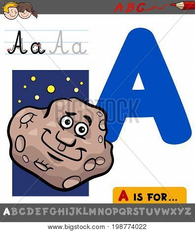 Letter A With Cartoon Asteroid