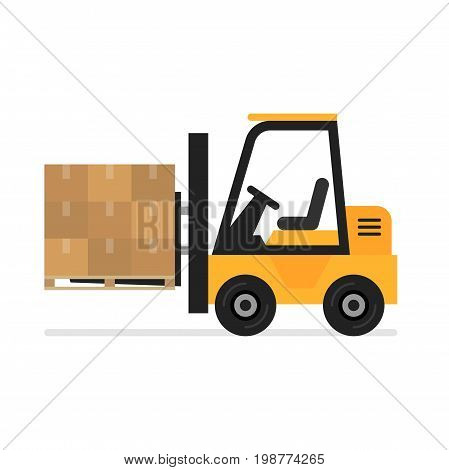 Forklift flat vector icon. Illustration of forklift truck is raising a pallet.