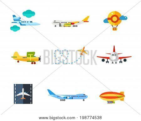 Flying icon set. Jet Plane Getting on Board Air Balloon Biplane Airplane Leaving Behind Love Shaped Smoke Trail Runway Airship