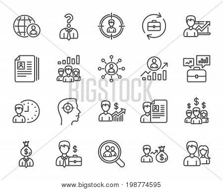 Human Resources line icons. Set of Business Networking, Job Interview and Head Hunting signs. CV, Teamwork and Portfolio symbols. Quality design elements. Editable stroke. Vector